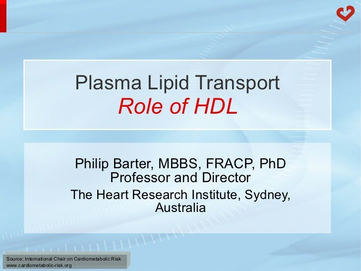 Plasma Lipid Transport Role of HDL Philip Barter, MBBS, FRACP, PhD Professor and Director The Heart Research Institute, Sy...