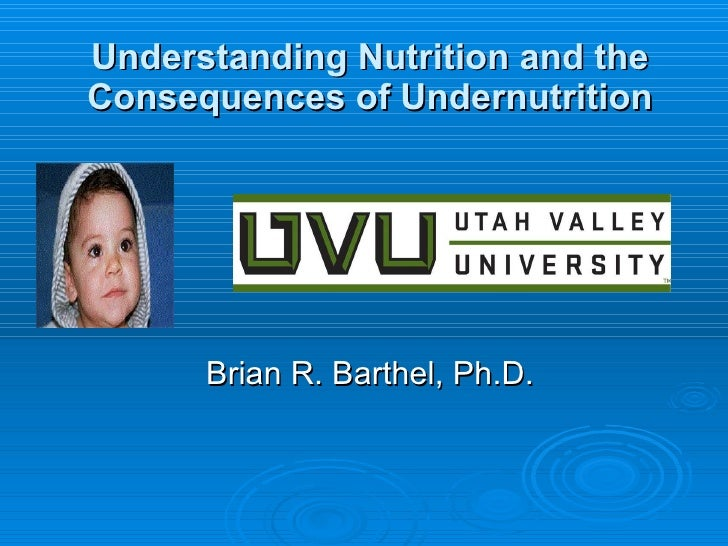 Understanding Nutrition and the Consequences of Undernutrition Brian R. Barthel, Ph.D.
