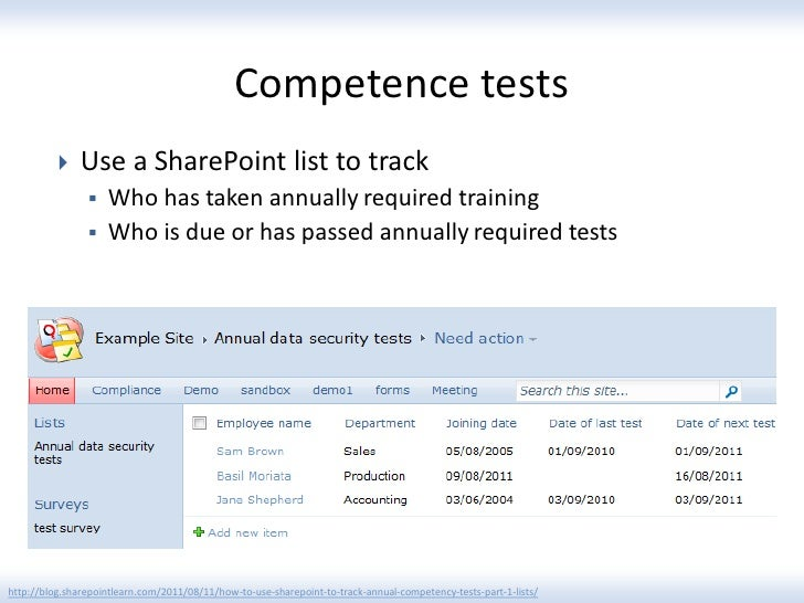 Competence tests              Use a SharePoint list to track                   Who has taken annually required training ...
