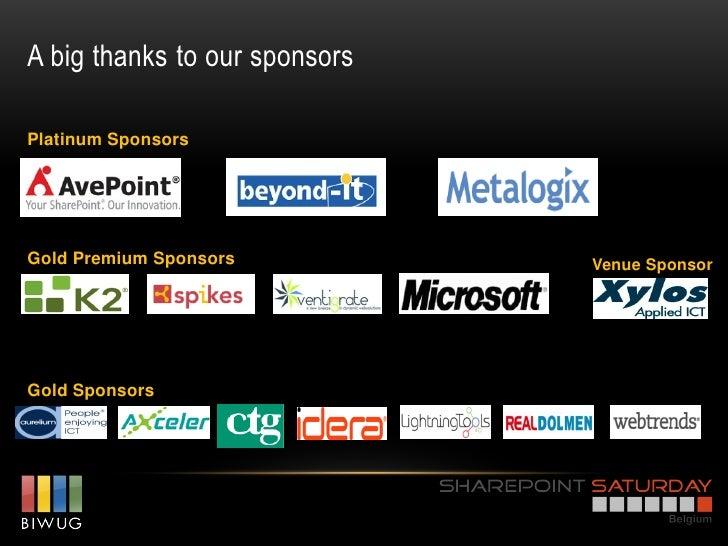 A big thanks to our sponsorsPlatinum SponsorsGold Premium Sponsors          Venue SponsorGold Sponsors