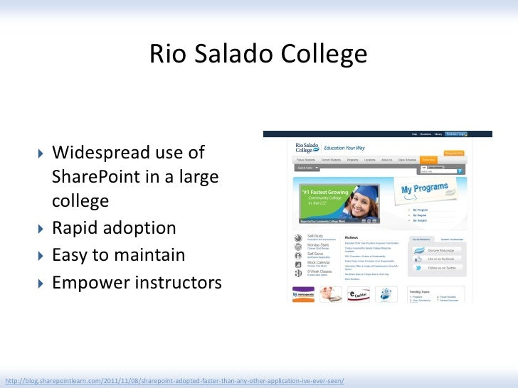 Rio Salado College              Widespread use of               SharePoint in a large               college             ...