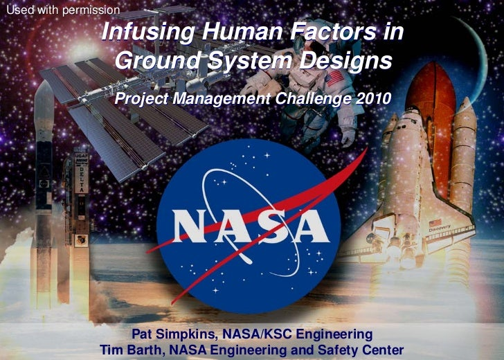 Used with permission                Infusing Human Factors in                 Ground System Designs                  Proje...