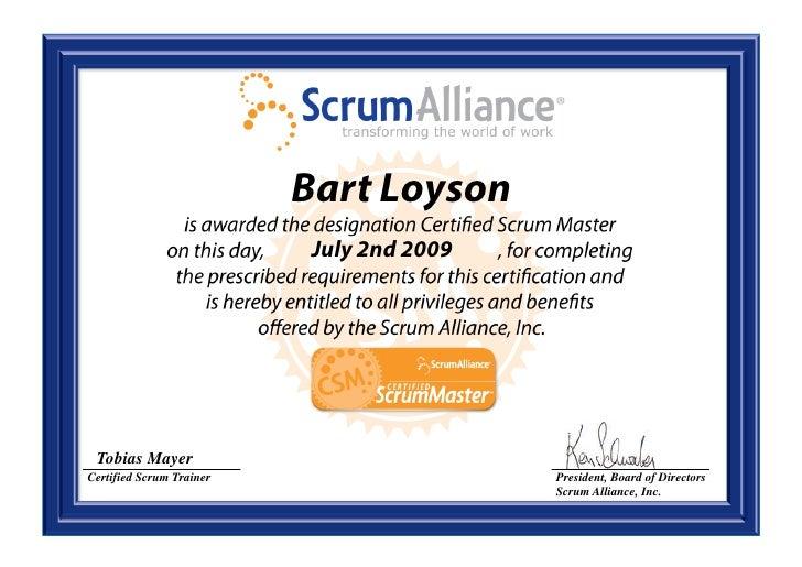Bart Loyson Certified Scrum Master Scrum Alliance Csm Certificate