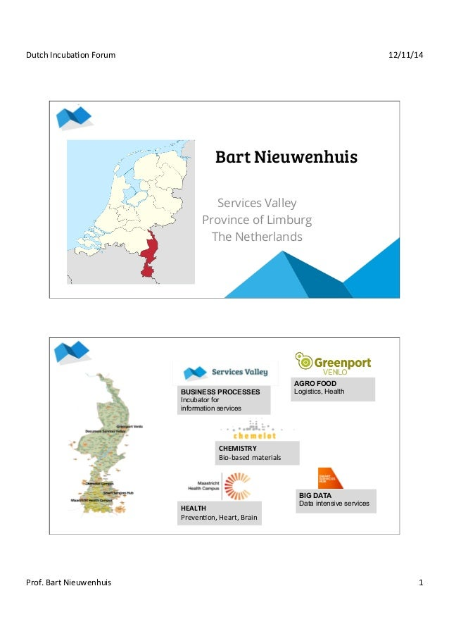 Dutch  Incuba+on  Forum  12/11/14  Bart Nieuwenhuis  Services Valley  Province of Limburg  The Netherlands  BUSINESS PROCE...