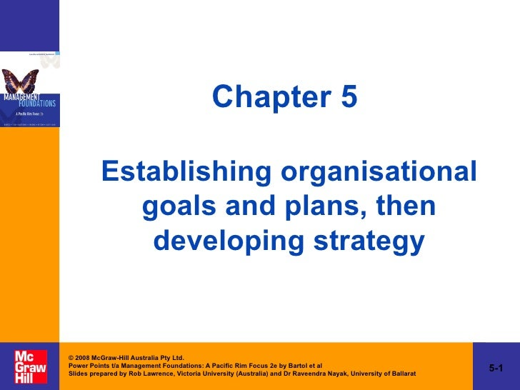 Chapter 5  Establishing organisational goals and plans, then developing strategy