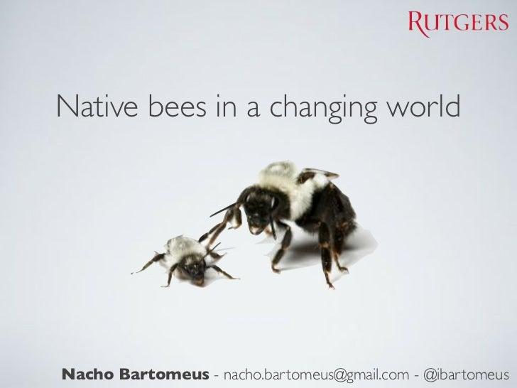Native bees in a changing worldNacho Bartomeus - nacho.bartomeus@gmail.com - @ibartomeus