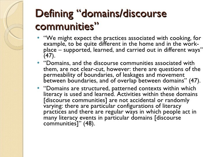 an analysis of discourse communities Chapter 1 discourse analysis and second language writing for those who want to develop their writing skills in another lan-guage, discourse—authentic language as it occurs in context—can be.