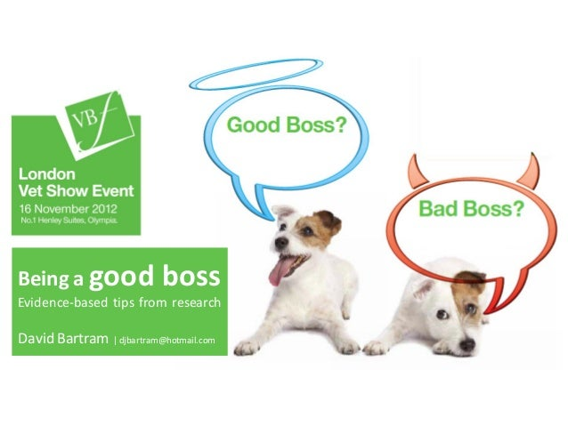 Being a good               bossEvidence-based tips from researchDavid Bartram | djbartram@hotmail.com