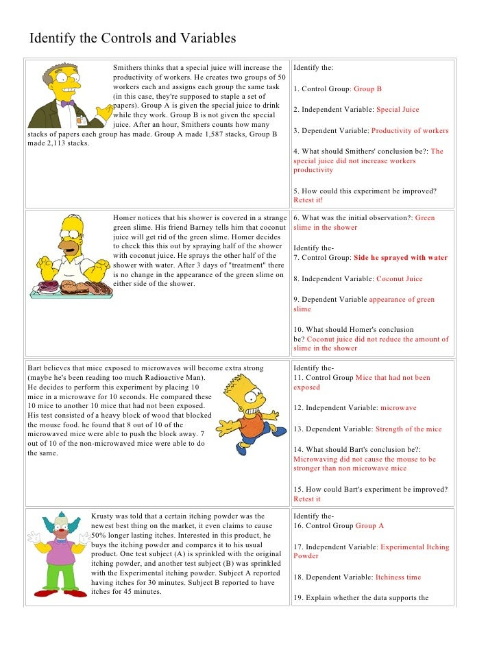 {Bart Simpson Controls And Variables With Answers – Simpsons Scientific Method Worksheet
