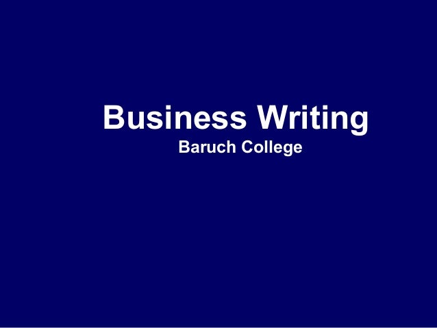 Business Writing Baruch College