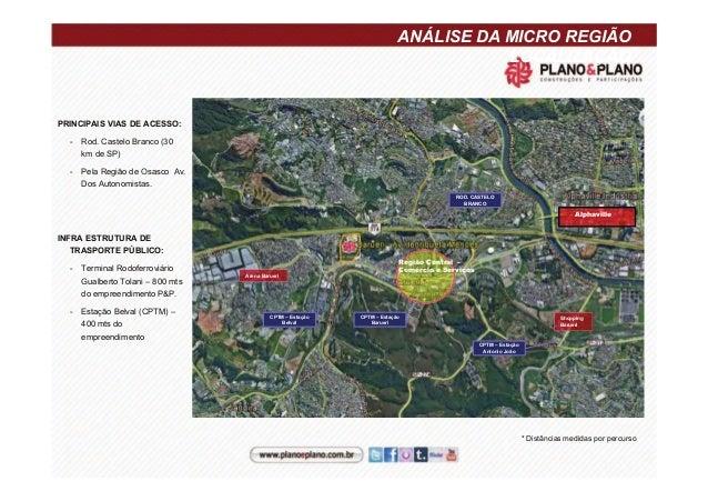 ANÁLISE DA MICRO REGIÃO LOCALIZAÇÃO PRINCIPAIS VIAS DE ACESSO: - Rod. Castelo Branco (30 km de SP) - Pela Região de Osasco...
