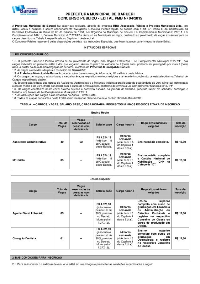PREFEITURA MUNICIPAL DE BARUERI CONCURSO PÚBLICO - EDITAL PMB Nº 04/2015 A Prefeitura Municipal de Barueri faz saber que r...