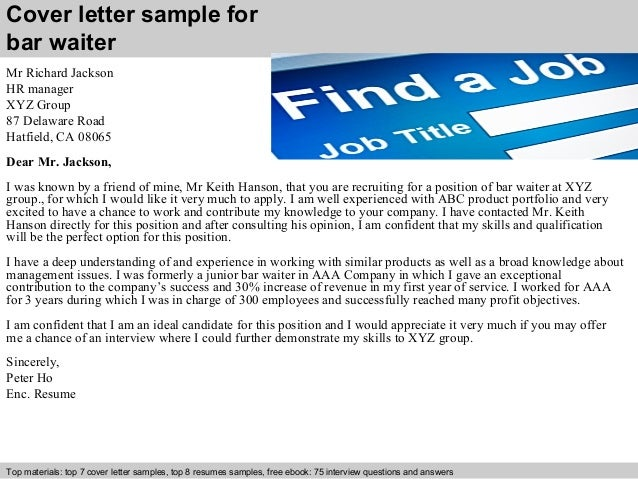 Bar waiter cover letter