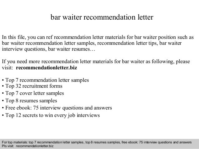 Interview Questions And Answers U2013 Free Download/ Pdf And Ppt File Bar Waiter  Recommendation Letter ...  Resume Waiter