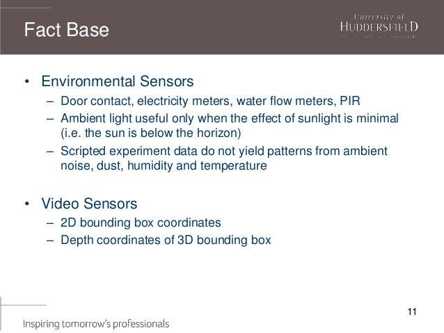 11 • Environmental Sensors – Door contact, electricity meters, water flow meters, PIR – Ambient light useful only when the...