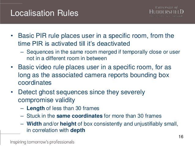 16 • Basic PIR rule places user in a specific room, from the time PIR is activated till it's deactivated – Sequences in th...
