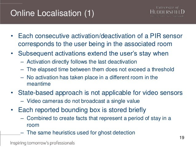 19 • Each consecutive activation/deactivation of a PIR sensor corresponds to the user being in the associated room • Subse...