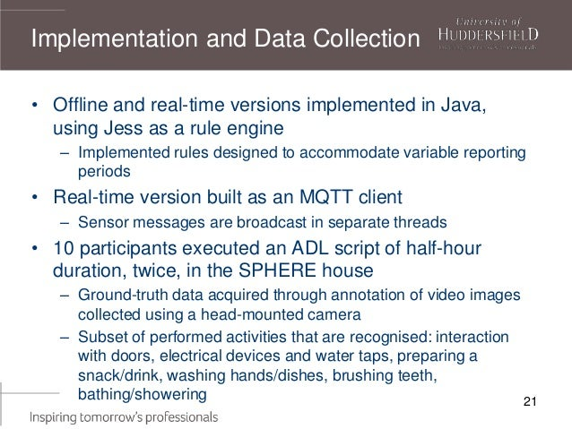 21 • Offline and real-time versions implemented in Java, using Jess as a rule engine – Implemented rules designed to accom...