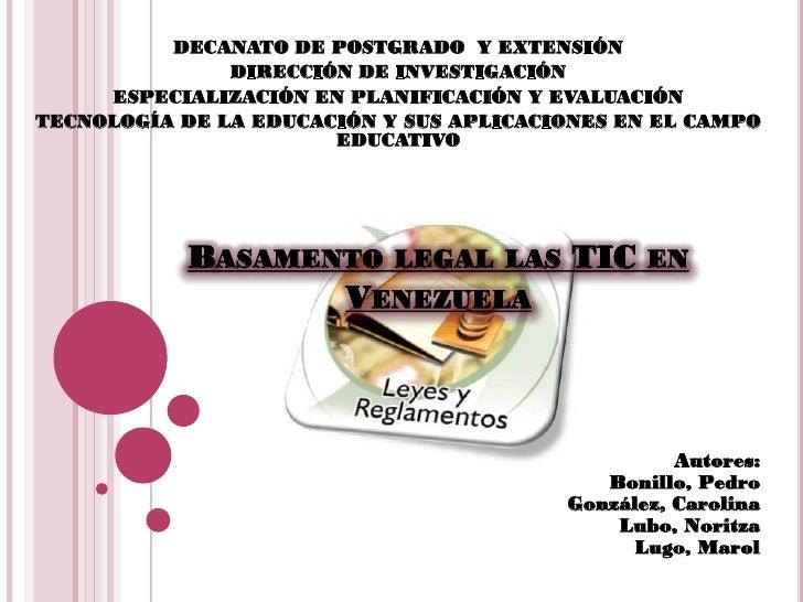 DECANATO DE POSTGRADO Y EXTENSIÓN               DIRECCIÓN DE INVESTIGACIÓN     ESPECIALIZACIÓN EN PLANIFICACIÓN Y EVALUACI...