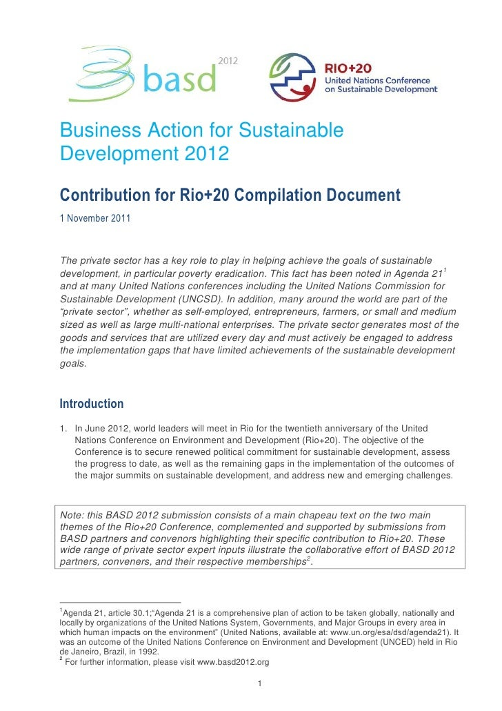 Business Action for SustainableDevelopment 2012Contribution for Rio+20 Compilation Document1 November 2011The private sect...