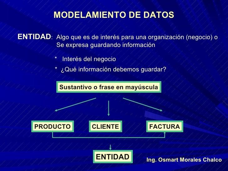 MODELAMIENTO DE DATOS ENTIDAD : Algo que es de interés para una organización (negocio) o Se expresa guardando información ...