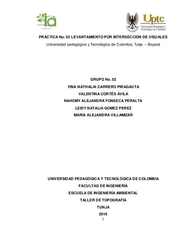 1 PRÁCTICA No. 02 LEVANTAMIENTO POR INTERSECCION DE VISUALES Universidad pedagógica y Tecnológica de Colombia, Tunja – Boy...