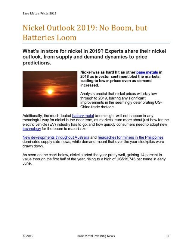 Base metals outlook 2019