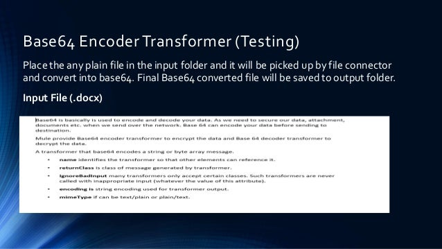 Base64 Encoder And Decoder Transformer With Mule ESB