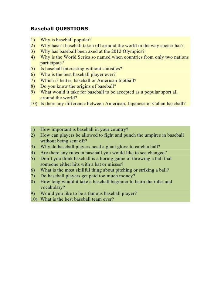 Baseball questions