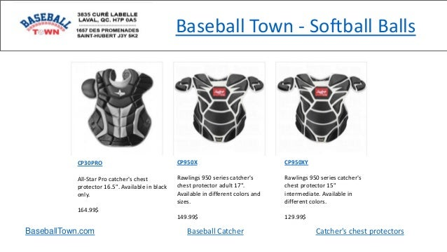"""Baseball Town - Softball Balls CP30PRO All-Star Pro catcher's chest protector 16.5"""". Available in black only. 164.99$ CP95..."""