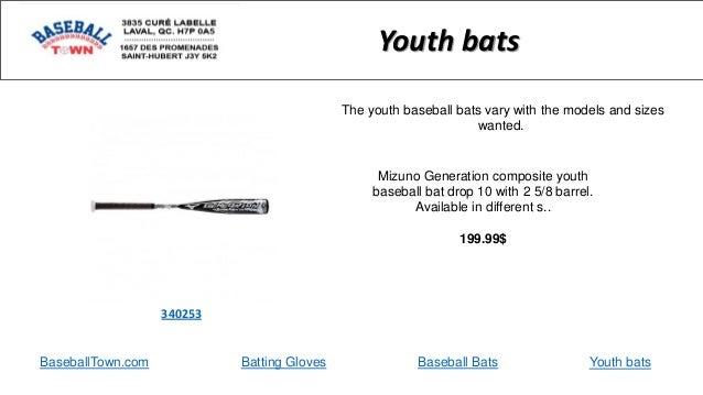 Youth bats BaseballTown.com Batting Gloves Baseball Bats Youth bats Mizuno Generation composite youth baseball bat drop 10...