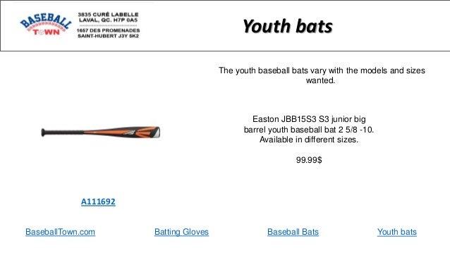 BaseballTown.com Batting Gloves Baseball Bats Easton JBB15S3 S3 junior big barrel youth baseball bat 2 5/8 -10. Available ...