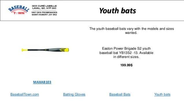BaseballTown.com Batting Gloves Baseball Bats Easton Power Brigade S2 youth baseball bat YB13S2 -13. Available in differen...