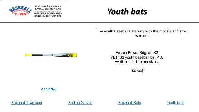 BaseballTown.com Batting Gloves Baseball Bats Easton Power Brigade S3 YB14S3 youth baseball bat -13. Available in differen...
