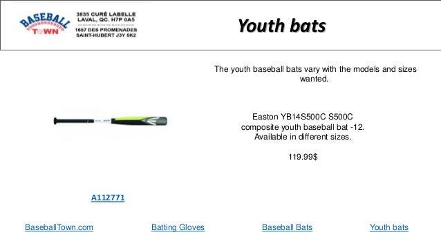 BaseballTown.com Batting Gloves Baseball Bats Easton YB14S500C S500C composite youth baseball bat -12. Available in differ...
