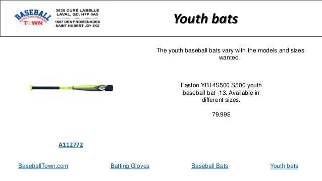 BaseballTown.com Batting Gloves Baseball Bats Easton YB14S500 S500 youth baseball bat -13. Available in different sizes. 7...