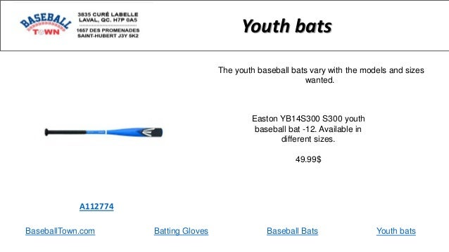 BaseballTown.com Batting Gloves Baseball Bats Easton YB14S300 S300 youth baseball bat -12. Available in different sizes. 4...