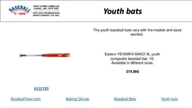 BaseballTown.com Batting Gloves Baseball Bats Easton YB15MKX MAKO XL youth composite baseball bat -10. Available in differ...