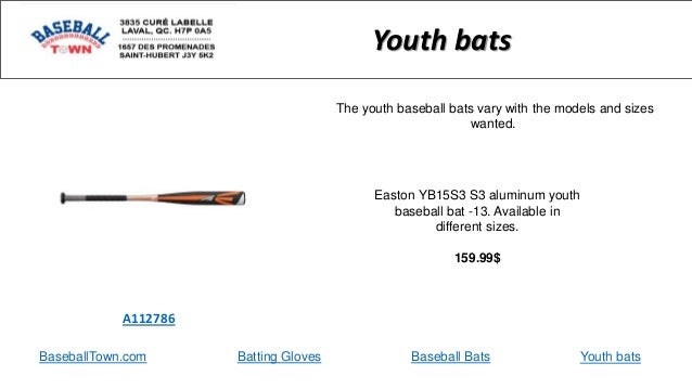 BaseballTown.com Batting Gloves Baseball Bats Easton YB15S3 S3 aluminum youth baseball bat -13. Available in different siz...