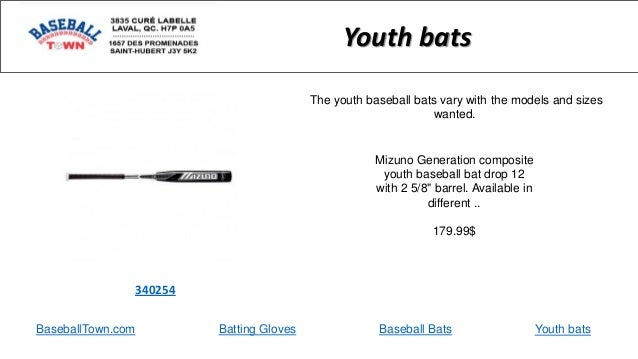 """Mizuno Generation composite youth baseball bat drop 12 with 2 5/8"""" barrel. Available in different .. 179.99$ 340254 Youth ..."""