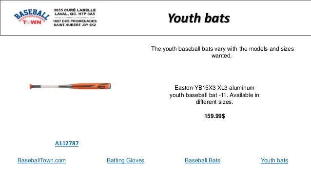 BaseballTown.com Batting Gloves Baseball Bats Easton YB15X3 XL3 aluminum youth baseball bat -11. Available in different si...