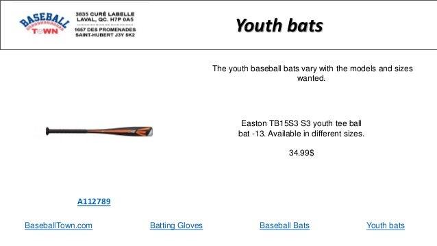 BaseballTown.com Batting Gloves Baseball Bats Easton TB15S3 S3 youth tee ball bat -13. Available in different sizes. 34.99...