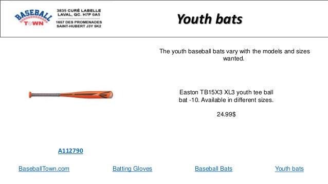 BaseballTown.com Batting Gloves Baseball Bats Easton TB15X3 XL3 youth tee ball bat -10. Available in different sizes. 24.9...