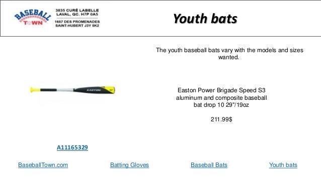 BaseballTown.com Batting Gloves Baseball Bats Easton Power Brigade Speed S3 aluminum and composite baseball bat drop 10 29...