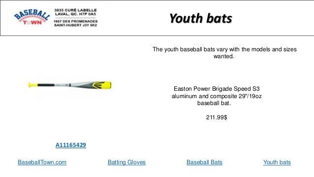 "BaseballTown.com Batting Gloves Baseball Bats Easton Power Brigade Speed S3 aluminum and composite 29""/19oz baseball bat. ..."