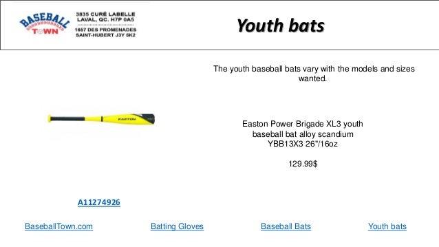 "BaseballTown.com Batting Gloves Baseball Bats Easton Power Brigade XL3 youth baseball bat alloy scandium YBB13X3 26""/16oz ..."