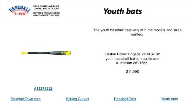 BaseballTown.com Batting Gloves Baseball Bats Easton Power Brigade YB14S2 S2 youth baseball bat composite and aluminium 28...