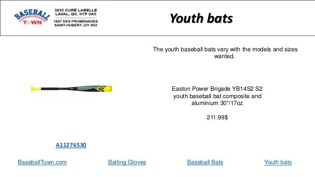 BaseballTown.com Batting Gloves Baseball Bats Easton Power Brigade YB14S2 S2 youth baseball bat composite and aluminium 30...
