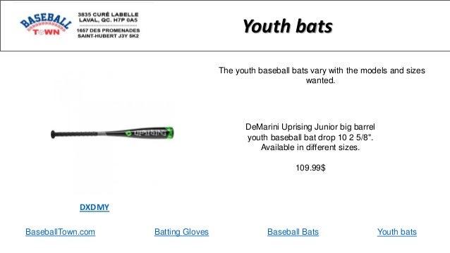 "BaseballTown.com Batting Gloves Baseball Bats DeMarini Uprising Junior big barrel youth baseball bat drop 10 2 5/8"". Avail..."