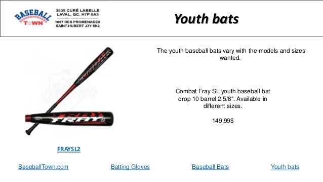 "BaseballTown.com Batting Gloves Baseball Bats Combat Fray SL youth baseball bat drop 10 barrel 2 5/8"". Available in differ..."
